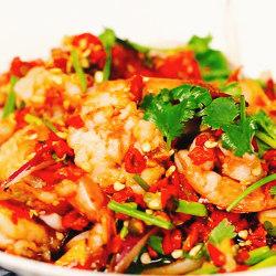 小葱米椒铺盖虾