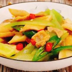 金华火腿炒莴笋鸡腿菇