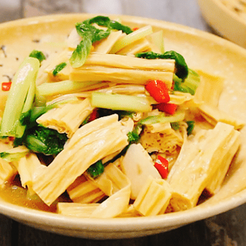 小白菜烧腐竹