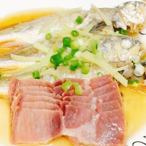 金华火腿蒸黄鱼